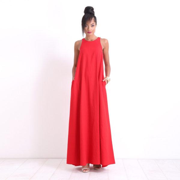 gloednieuw superieure kwaliteit topmerken Prachtige lange rode jurk