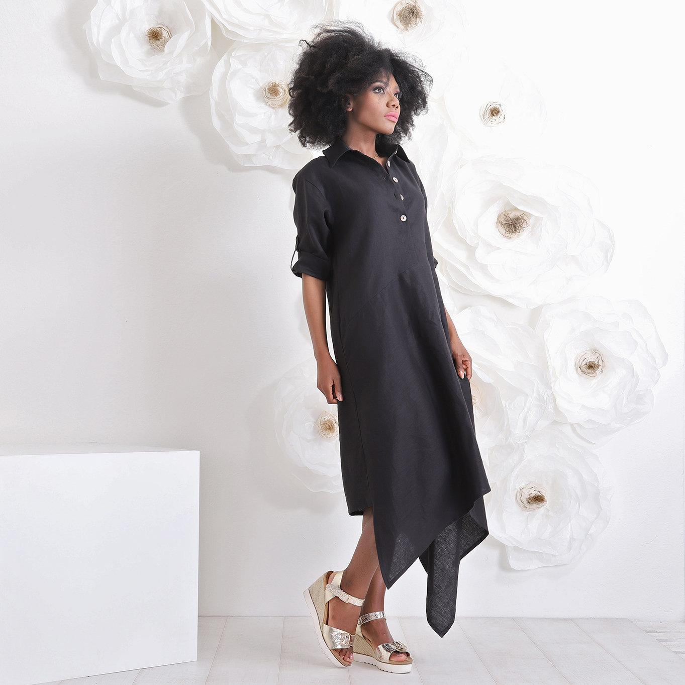 Spiksplinternieuw Mooie zwarte linnen jurk - House of Festivals NA-48