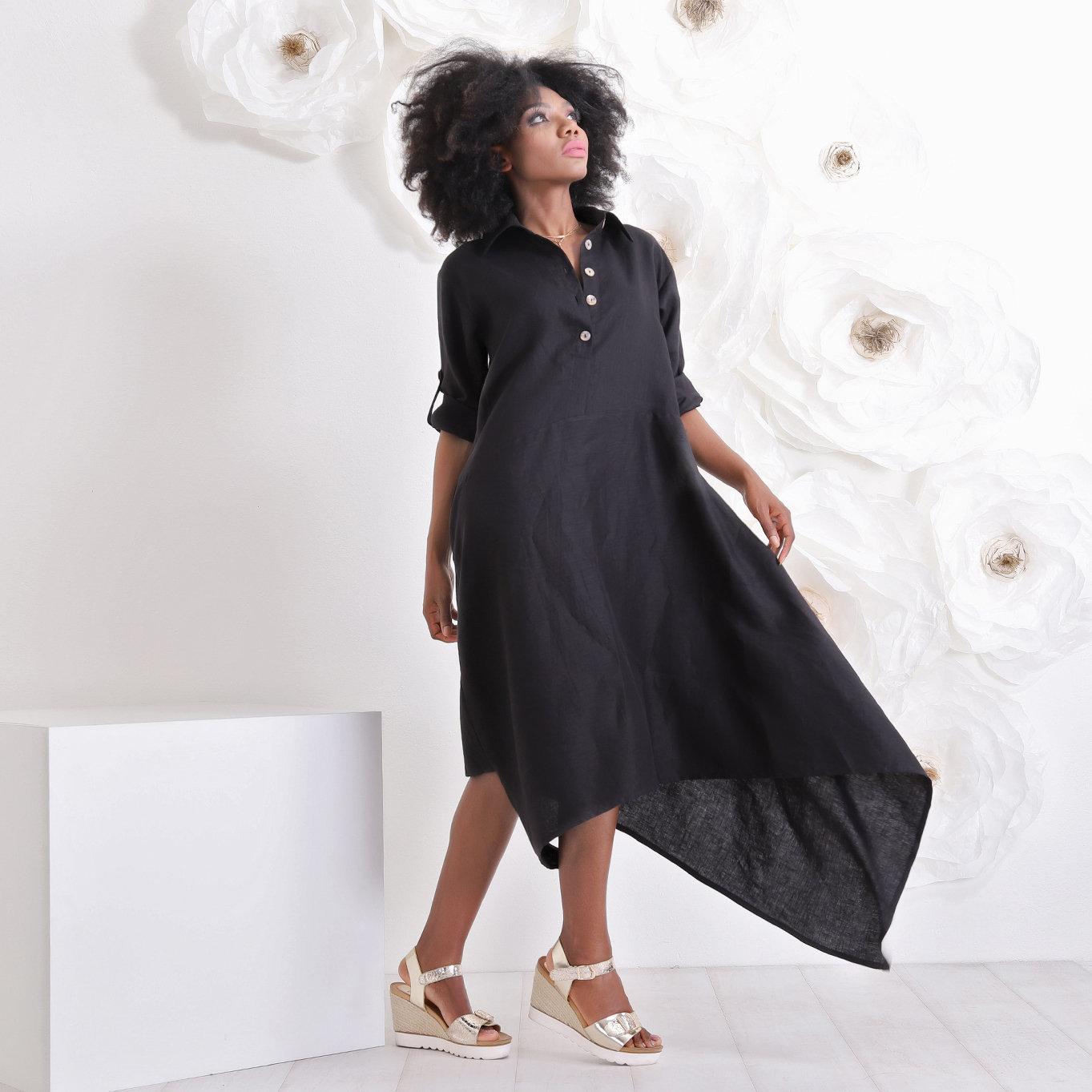 Verbazingwekkend Mooie zwarte linnen jurk - House of Festivals OI-86